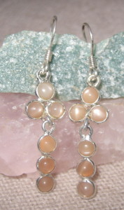 Gemsations Sterling Silver and Peach Moonstone Earrings
