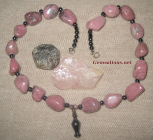 Gemsations Rhodonite and Hematite Necklace